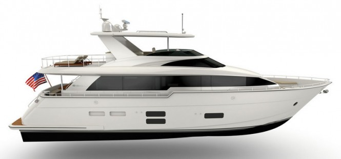 Hatteras 70 Yacht - side view - Image credit to Hatteras Yachts