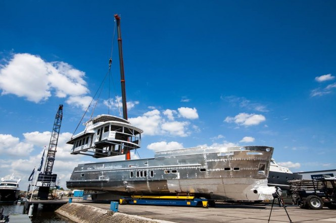 Hull and superstructure of Trawler 2395 Yacht being joined together - Photo by Wim van der Valk Continental Yachts
