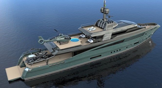 Luxury yacht QUEEQUEG concept - view from above