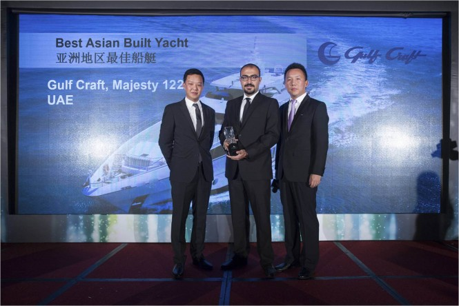 Mahmoud Itani Marketing and Communications Manager at Gulf Craft receiving the award in Hong Kong