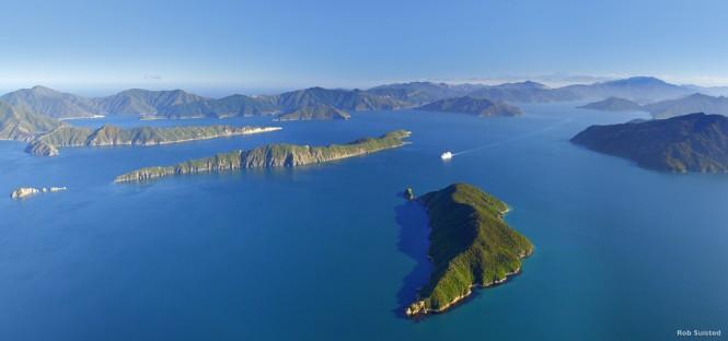 Cruise ship in Marlborough Sounds, New Zealand. Leaving entrance
