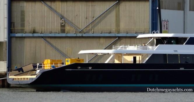 Mega yacht AQUIJO - stern - Photo by Dutchmegayachts