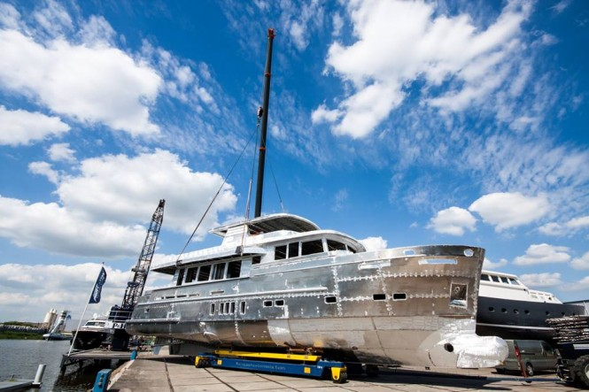 Motor yacht Trawler 2395 hull and superstructure joined together - Photo by Wim van der Valk Continental Yachts