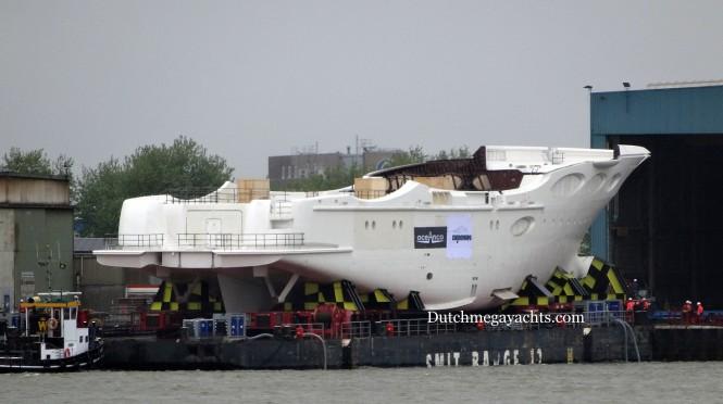 Oceanco motor yacht Y715 at Zwijnenburg - Photo by Dutchmegayachts