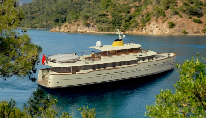 Rendering of the new 36m Classic Yacht CMY 36 by Taka Yacht Design in a beautiful Gocek cove
