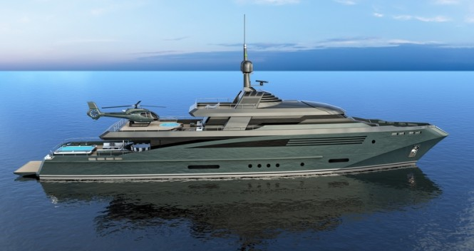 Superyacht QUEEQUEG concept - side view
