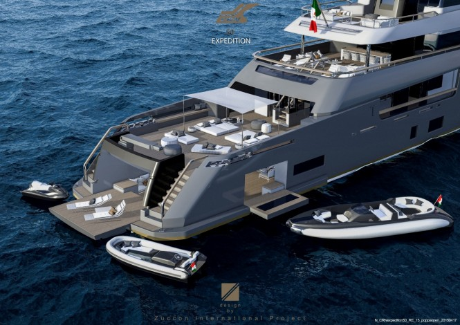 Superyacht Teseo concept - aft view