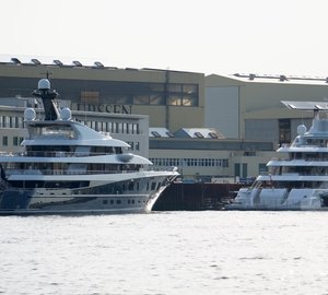Mighty PHOENIX 2 and QUANTUM BLUE Yachts spotted at Lurssen