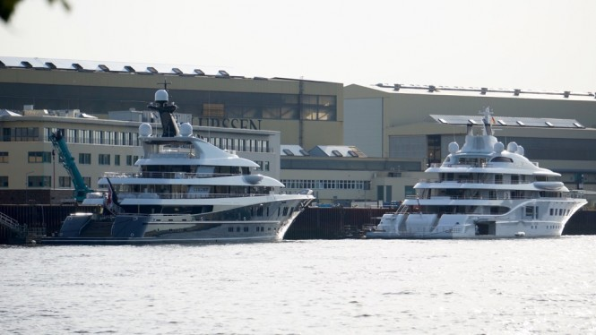 Superyachts Phoenix 2 and Quantum Blue at Lurssen - Photo by DrDuu