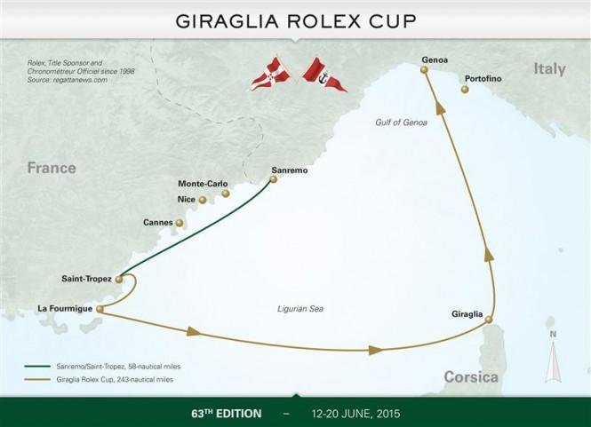 63rd Giraglia Rolex Cup - Course Map - Photo by Rolex