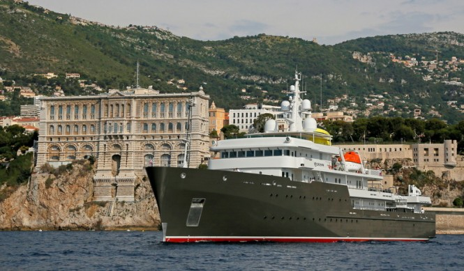 77m expedition yacht YERSIN in Monaco - Photo by Ameller
