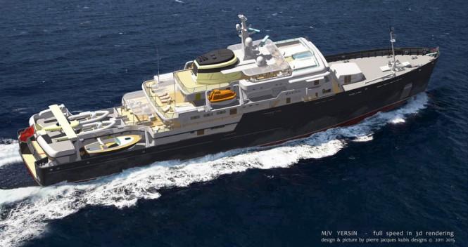 77m explorer motor yacht YERSIN designed by Pierre J. KUBIS Designs
