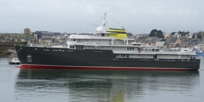 77m explorer yacht YERSIN at launch in January 2015 - Image credit to 2015 PIRIOU - YERSIN