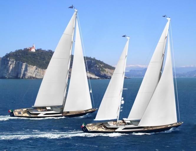 Beautiful 60m Series Superyachts by Perini Navi under sail