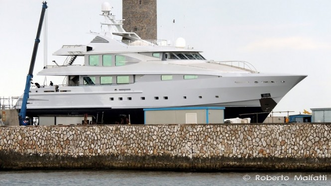 CMN Line 49 super yacht MIM spotted at Benetti in Italy - Photo by Roberto Malfatti