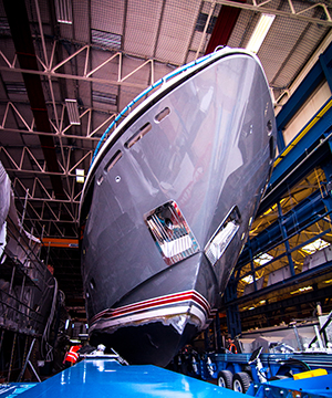 First Princess 35M Yacht ready to leave her shed - Photo by Princess Yachts International plc