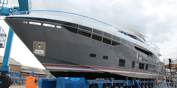 First Princess 35M Yacht showing her beautiful steel grey hull - Photo by Princess Yachts International plc