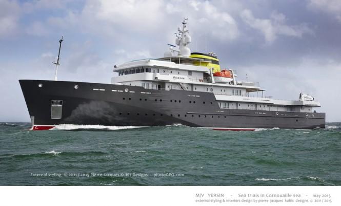 Luxury motor yacht YERSIN - side view