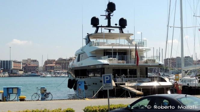 Luxury yacht ACHILLES - aft view - Photo by Roberto Malfatti
