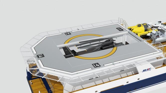 Luxury yacht support vessel SEA AXE 6911- Helicopter Hangar