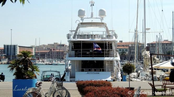 Motor yacht ATTITUDE - aft view - Photo by Roberto Malfatti