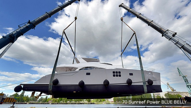 New 70 Sunreef Power Yacht Blue Belly at Launch