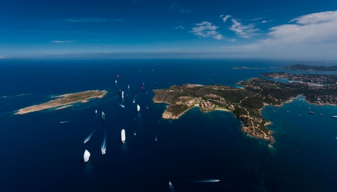 Perini Navi Cup from above hosted by the gorgeous Porto Cervo yacht charter destination