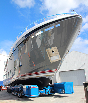 Princess 35M superyacht Hull no. 1 leaving her shed - Photo by Princess Yachts International plc