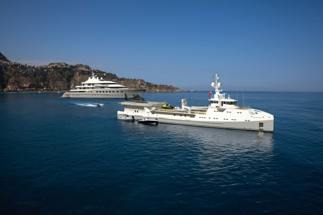 SEA AXE 6911 yacht support vessel and AMELS LE 272 superyacht