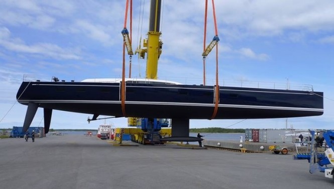 Sailing yacht Swan 115-001 S at launch - Photo by Nautors Swan