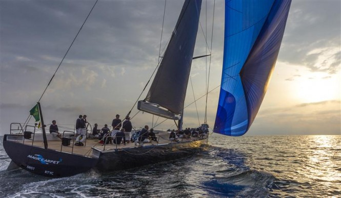 Super yacht Magic Carpet Cubed during the 2013 Giraglia Rolex Cup - Photo by Rolex Carlo Borlenghi