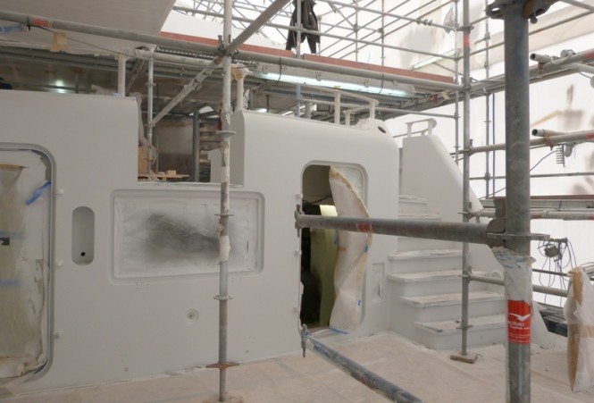 Superyacht MIRAGE under refit
