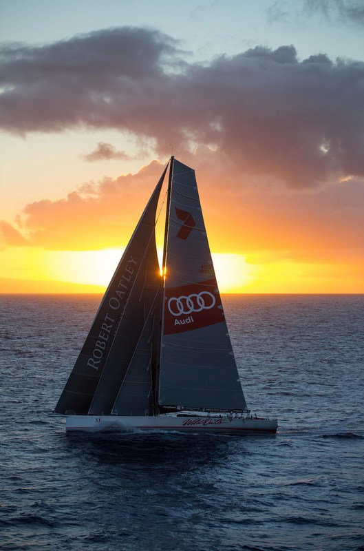 •With every possible sail set, Wild Oats XI heads into the Hawaiian sunset (Image credit: Sharon Green/Ultimate Sailing)