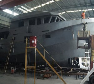 Construction of First Motor Yacht BERING 77 Well Underway