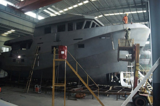 First Explorer Yacht Bering 77 under construction