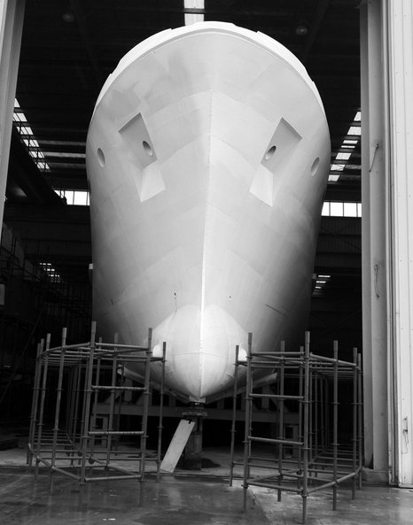 Expedition Yacht Bering 80 under construction at Bering Yachts