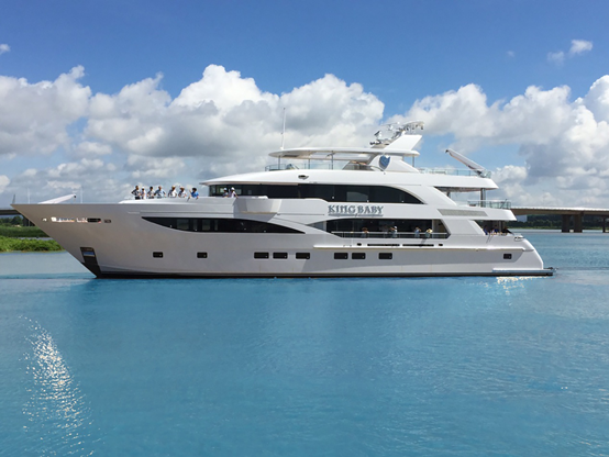 140ft IAG superyacht KING BABY on the water