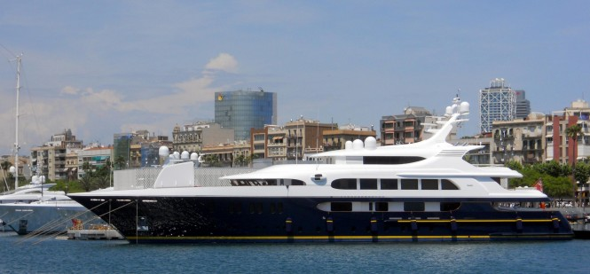 65m FEADSHIP superyacht TANUSHA (ex PESTIFER) in Barcelona - Photo by Jos Strijtveen