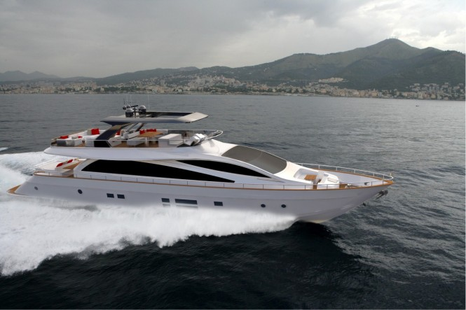 Amer 94 luxury yacht SAVE THE SEA underway