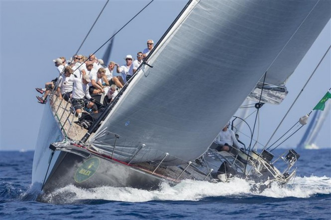 Claus-Peter Offen's superyacht Y3K (GER) sailing upwind - Photo by Rolex Carlo Borlenghi