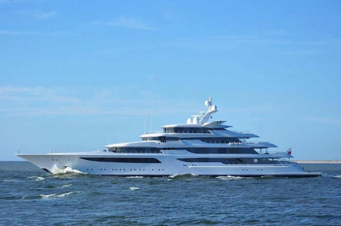 Feadship motor yacht Royal Romance (hull 1005) passing IJmuiden South Pier Head, July 21, 2015 - Photo by Jan Ramaker and Feadship Fanclub