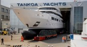 First TANKOA S693 Superyacht SUERTE leaving her shed