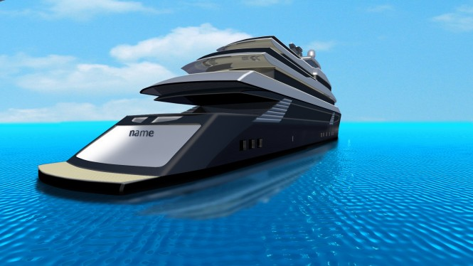 Luxury motor yacht SKUA54 concept - aft view