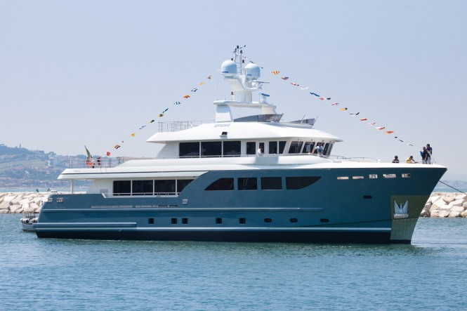Luxury motor yacht STORM on the water