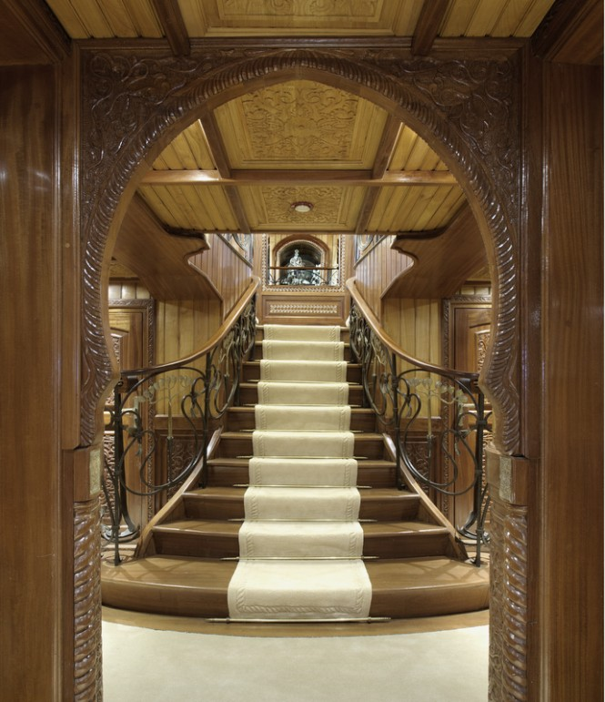 Newly restored 65m classic motor yacht la sultana for Luxury staircase