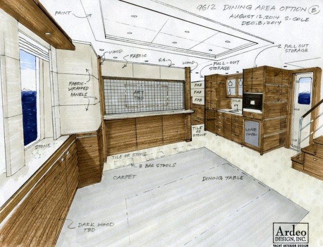 Nordhavn 96' Superyacht N9612 - Dining area with motorized partition up, Coffee Tea Station is on starboard side