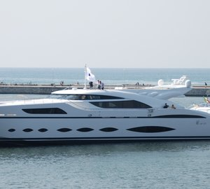 Brand new Superyacht AB 145 in the port of Marina di Carrara, Italy