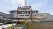 Transport of hull and superstructure of DYNAMIQ D4 Yacht