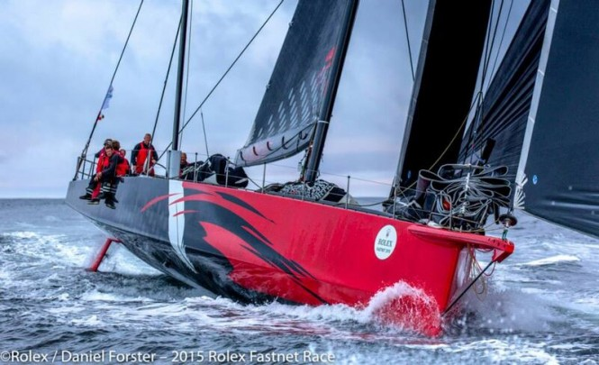 100ft Supermaxi yacht Comanche by Hodgdon Yachts at full speed - Photo by Rolex Daniel Forster