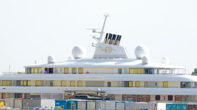 123m Lurssen mega yacht GOLDEN ODYSSEY in Bremen, Germany - Photo by DrDuu